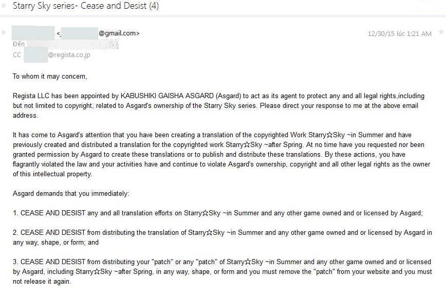 The cease and desist notice sent to fan translation group Otomegirlkawaii.