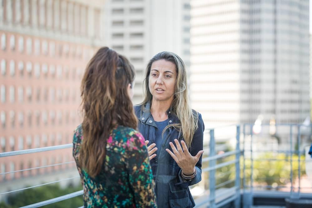 Lupe Gervas being interviewed