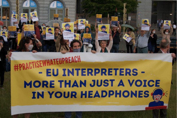 EU Interpreters Demonstrate at Parliament in June 2020